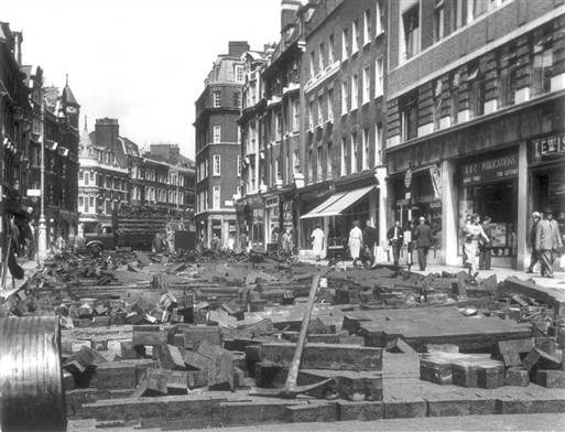 Photo:Road works in Marylebone High Street during the 1950s. Photograph by H Rose