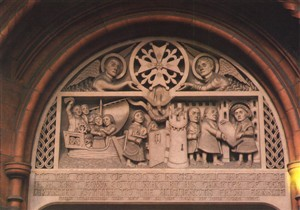 Photo:Carved relief above doorway of the French Protestant Church, Soho Square.This stone relief was erected at the church in 1950, to celebrate the 400th anniversary of the opening of the first French Protestant Church in Threadneedle Street in 1550. It shows the Hugeunots leaving France, arriving at Dover and receiving a charter granting them asylum from Edward VI. This photograph was taken in about 1980.